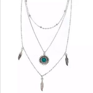 Justine's Chic Boutique Jewelry - 3-Layer Turquoise Sun & Feather Pendant Necklace